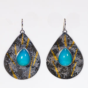 Silver And 24k Gold Chalcedony Drop Earrings