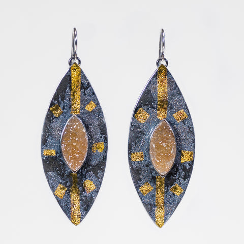 Silver And 24k Gold Druzy Quartz Drop Earrings