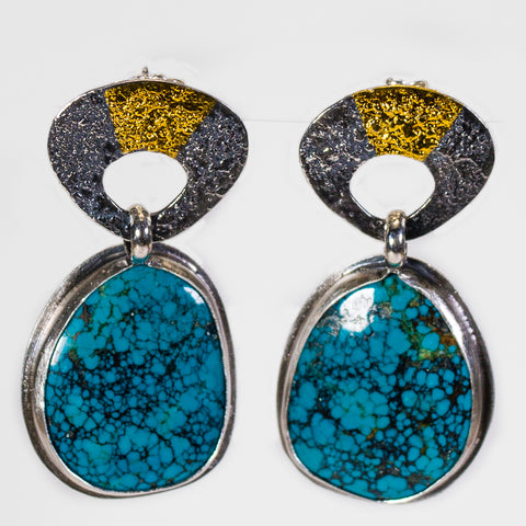 Turquoise With Silver And 24k Gold Drop Earrings