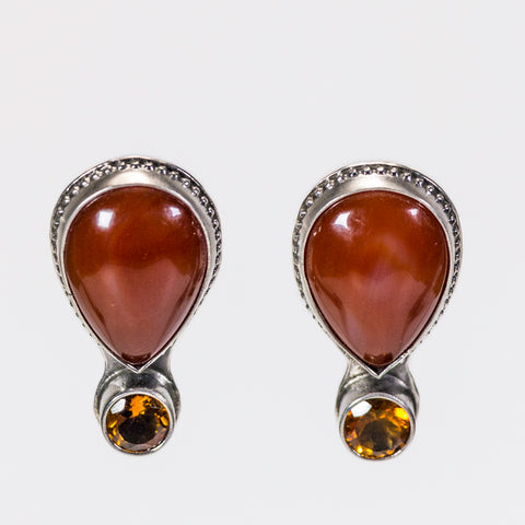 Carnelian And Citrine Gemstone Stud Earrings