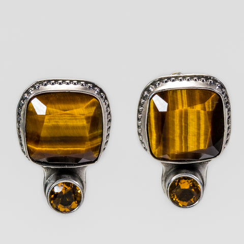 Tiger Eye And Citrine Gemstone Stud Earrings
