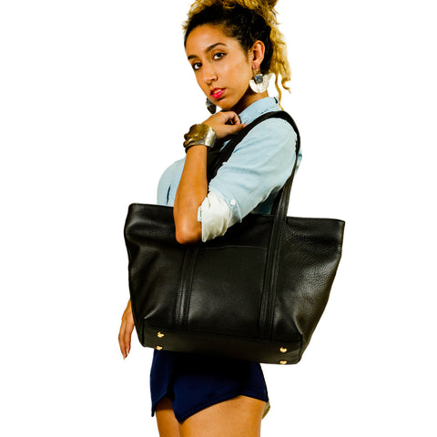 Andrea Service Black Leather Tote Bag