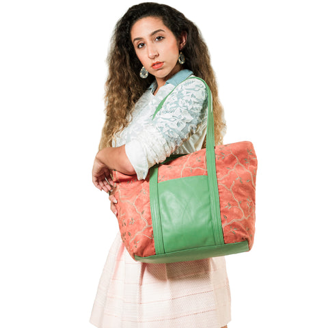 Andrea Service Embroidered Suede and Leather Tote Bag, Deep Amber/Lime/Multi