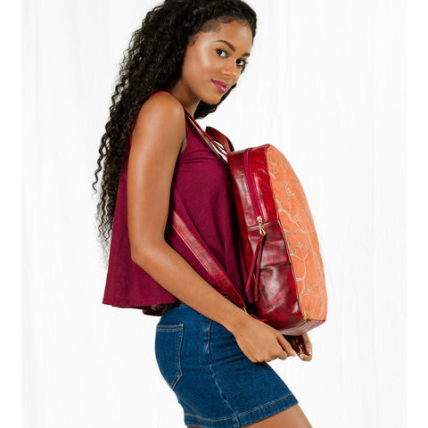 Island Niche Leather and Embroidered Suede Back Clutch, Crimson Red/Deep Amber