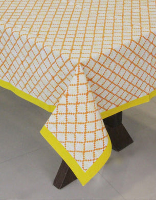 Yellow Border with Orange Check Hand Block Printed Table Cover