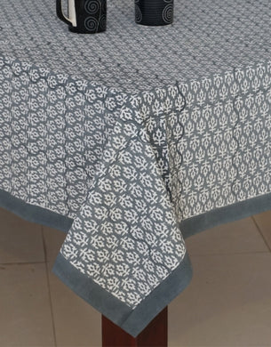 Grey Hand Block Printed Table Cover