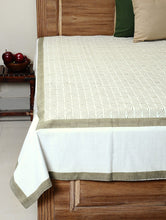 Load image into Gallery viewer, White Cotton Hand Block Printed Bed Sheet