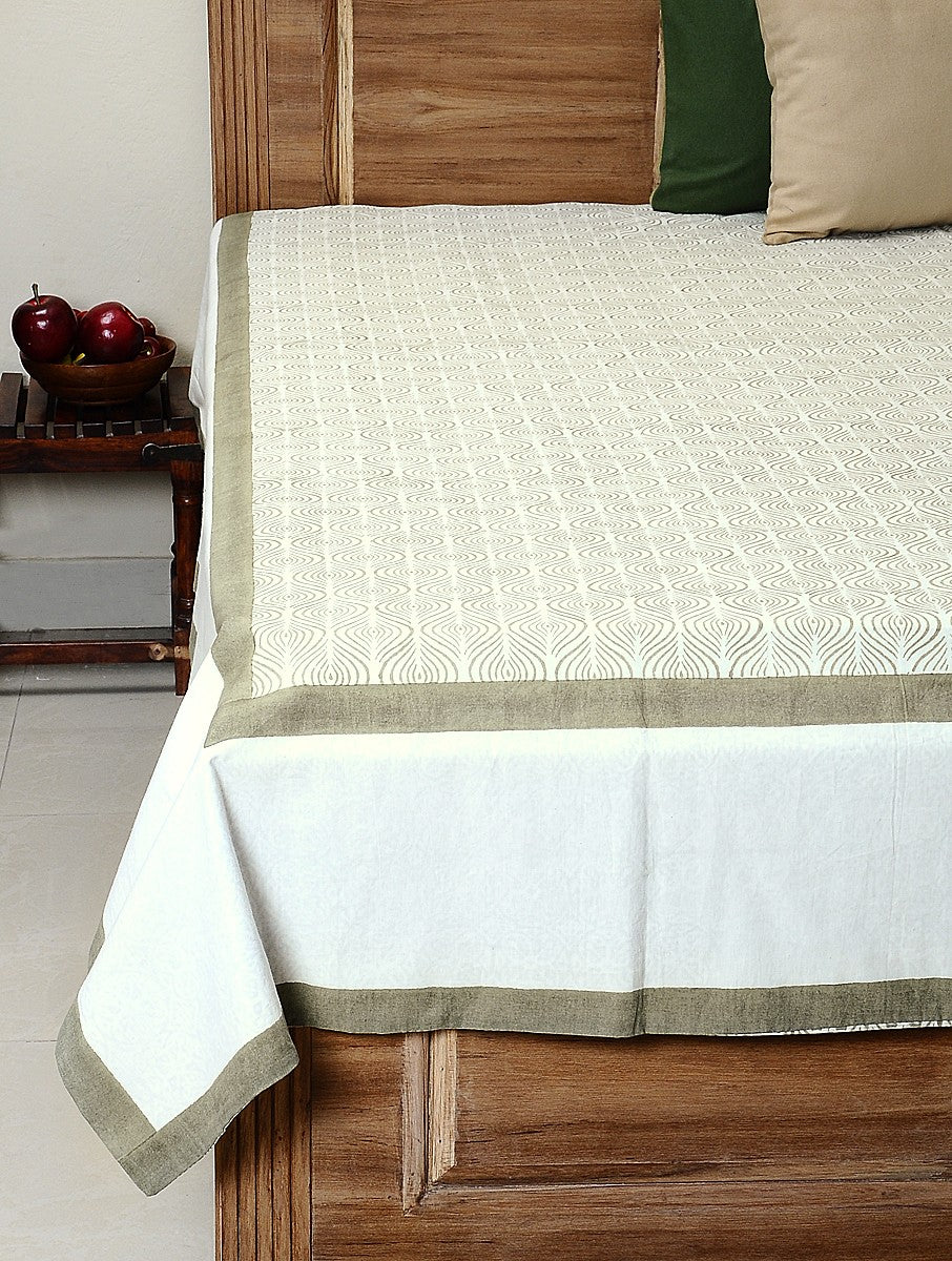 White Cotton Hand-Block Printed Bed Cover