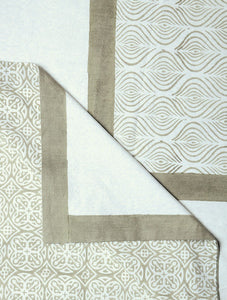 White Cotton Hand Block Printed Bed Sheet