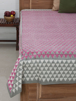Pink Ivory Grey Cotton Hand Block Printed Bed Sheet
