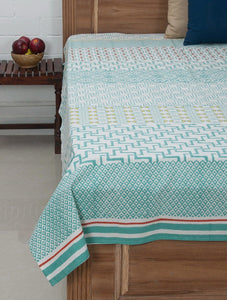 White Green Cotton Hand Block Printed Bed Sheet