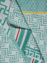 Load image into Gallery viewer, White Green Cotton Hand Block Printed Bed Sheet