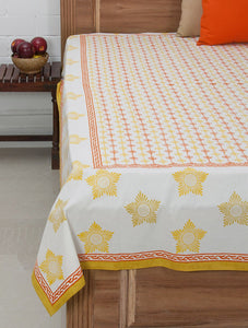 White-Yellow-Orange Cotton Hand-Block Printed Bed Cover