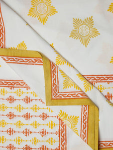 White Yellow Orange Cotton Hand-Block Printed Bed Sheet