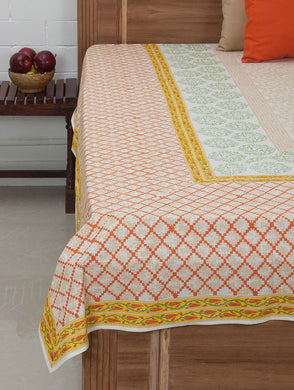 Cyan-White-Orange Cotton Hand-Block Printed Bed Cover
