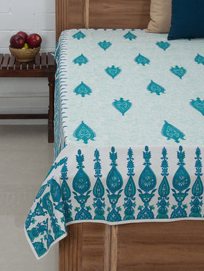 Blue-Green-White Cotton Hand-Block Printed Single Bed Cover