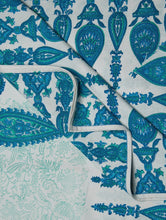 Load image into Gallery viewer, Blue Green White Cotton Hand Block Printed Bed Sheet