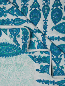 Blue Green White Cotton Hand Block Printed Bed Sheet