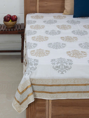 Grey-Beige-White Cotton Hand-Block Printed Bed Sheet