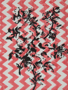 Black-Beige-Red Cotton Hand-Block Printed Placemat