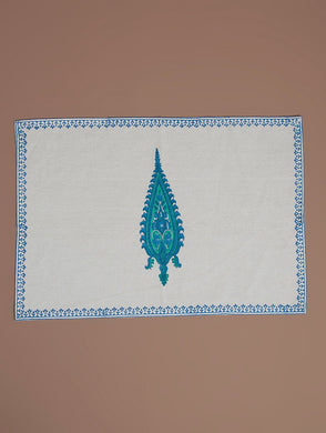 White-Blue-Green Cotton Hand-Block Printed Placemat