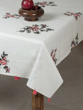 Load image into Gallery viewer, White-Black-Pink Cotton Hand-Block Printed Table Cloth
