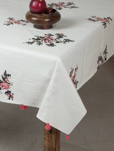 White-Black-Pink Cotton Hand-Block Printed Table Cloth