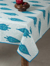 Load image into Gallery viewer, Paisley Blue-Green Cotton Hand-Block Printed Table Cloth