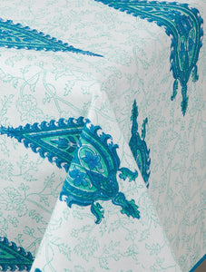Paisley Blue-Green Cotton Hand-Block Printed Table Cloth