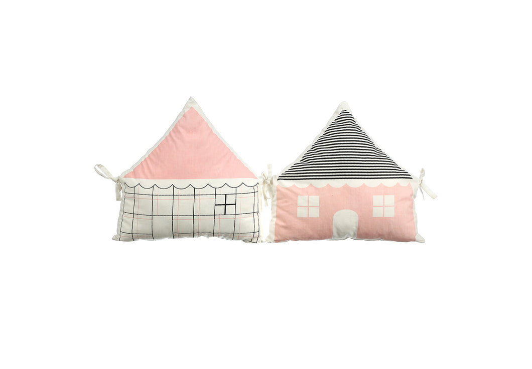 HOUSE BUMPER PINK & BLACK SOLID & CHECKS ( Set of 2 )