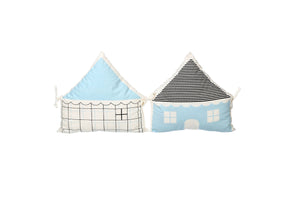 HOUSE BUMPER BLUE & BLACK SOLID & CHECKS ( Set of 2 )