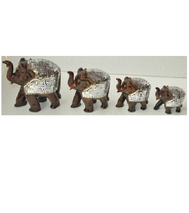 WOODEN MIRROR WORK ELEPHANT MYWH2857