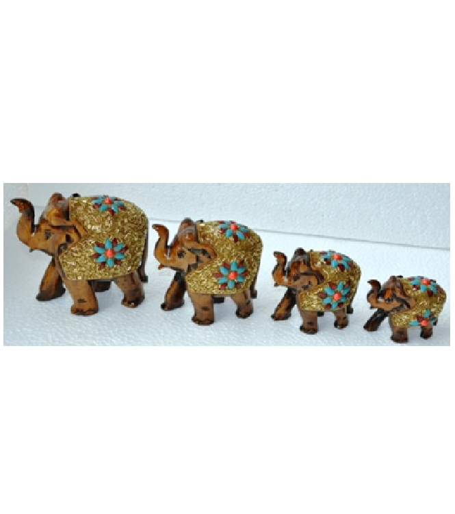 WOODEN GOLD PAINTEDWORK ELEPHANT MYWH2873