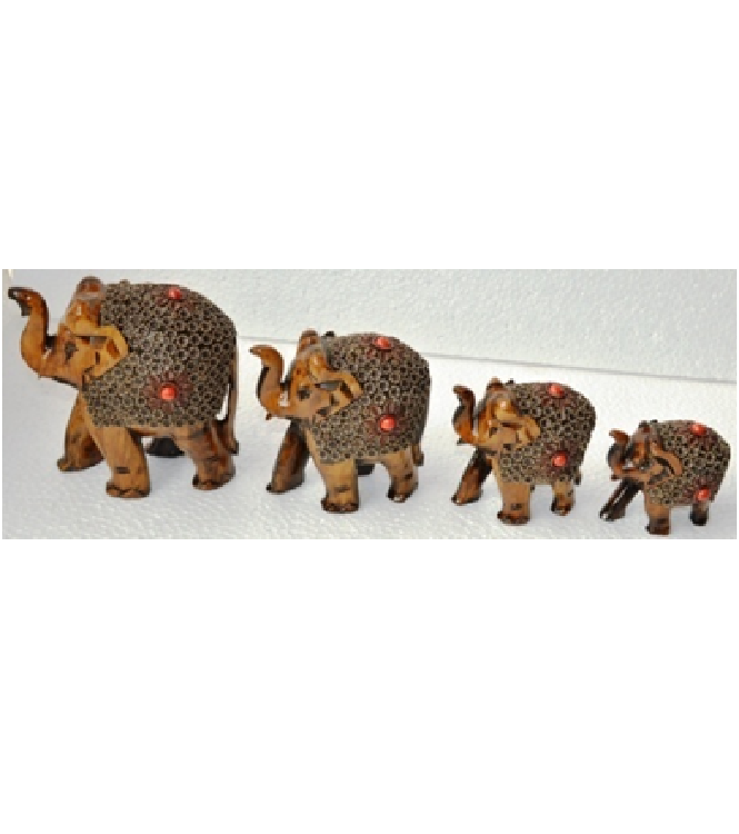WOODEN FLOWER WORK ELEPHANT MYWH2859