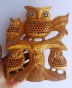 WOODEN TREE OWL MYWH3034
