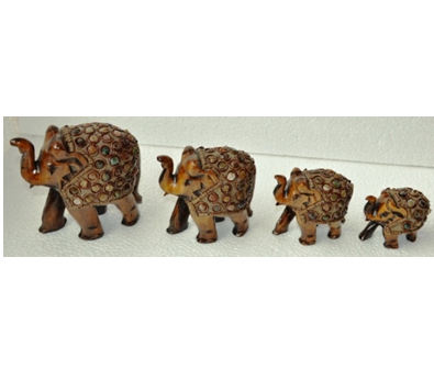 WOODEN SEMI STONE WORK PAINTED ELEPHANT  MYWH2876