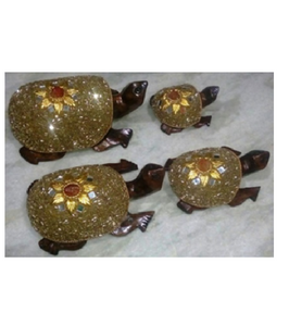 WOODEN GOLD WORK TURTLE  MYWH2889