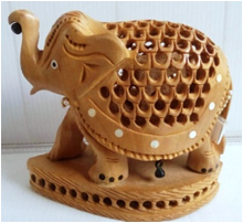WOODEN INLAID WORK ELEPHANT  MYWH2926
