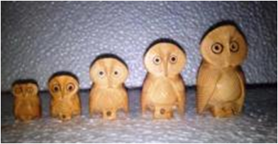 WOODEN CARVING ROUND OWL SET OF 5 PCS FINE MYWH3044