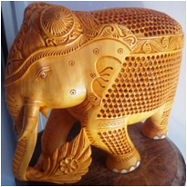 WOODEN U/CUT LEAF WORK ELEPHANT MYWH2932