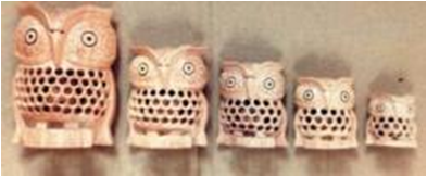 WOODEN UNDERCUT OWL SET  OF 5 PCS FINE MYWH3047