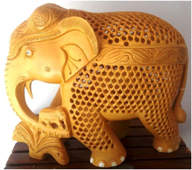 WOODEN U/CUT ELEPHANT WITH FLOWER & BABY MYWH2944