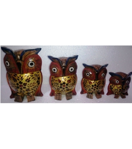 WOODEN PAINTED WORK OWL MYWH2896