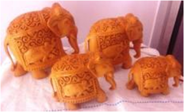 WOODEN ELEPHANT CARVING SET OF 4 PCS TRUNK DOWN MYWH3061