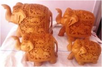 WOODEN SHIKAR CARVING ELEPHANT  FINE MYWH2964
