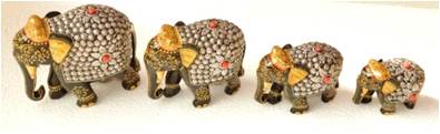 WOODEN METAL PAINTED WORK ELEPHANT MYWH2874
