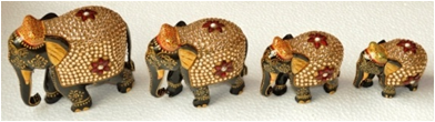 WOODEN GOLD PAINTED WORK ELEPHANT MYWH2875