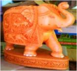 WOODEN CARVING PAWTI ELEPHANT TRUNK UP MYWH2990