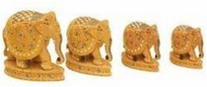 WOODEN INLAID PAWTI ELEPHANT  MYWH2998
