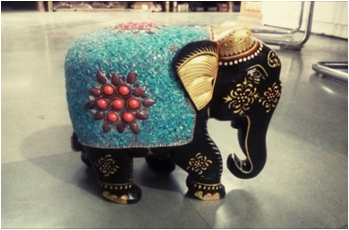 WOODEN STONE WORK ELEPHANT   WITH PAINTING WORK 8''MYWH2883